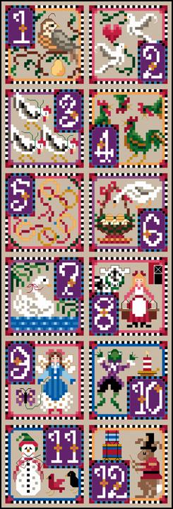 12 Days Of Christmas Cross Stitch.Just Nan Jn166 12 Days Of Christmas Counted Thread Cross