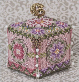 Just Nan - JN273 Miss Kitty's Pin Cube • Counted Thread Cross Stitch  Designs from Just Nan